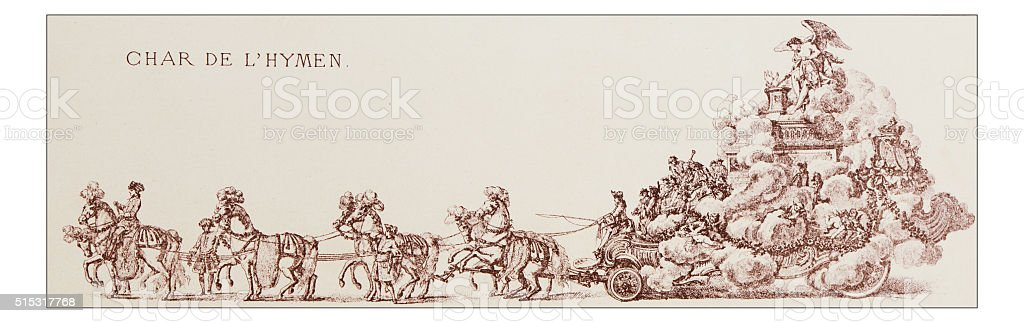 Antique illustration of parade float vector art illustration