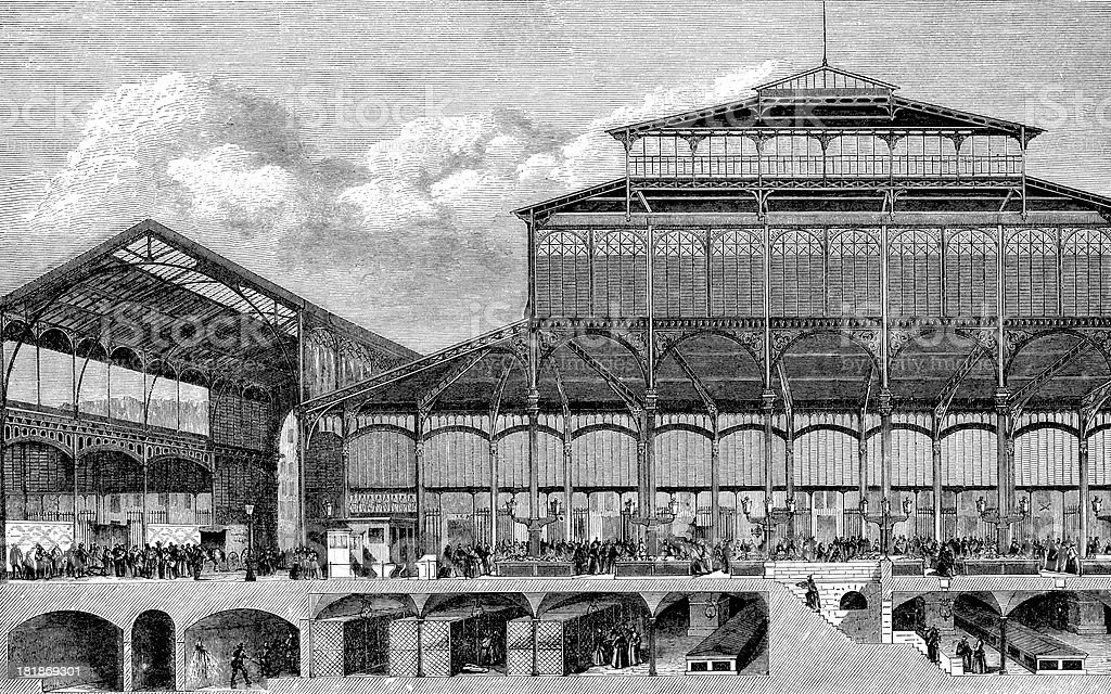 Antique illustration of Paris central expo halls royalty-free stock vector art
