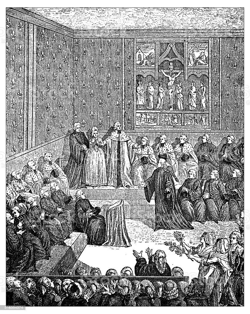 Antique illustration of parliament vector art illustration
