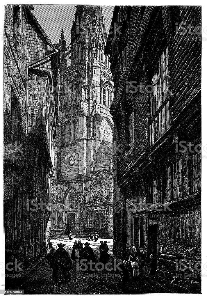 Antique illustration of partial view of Harfleur (France) vector art illustration