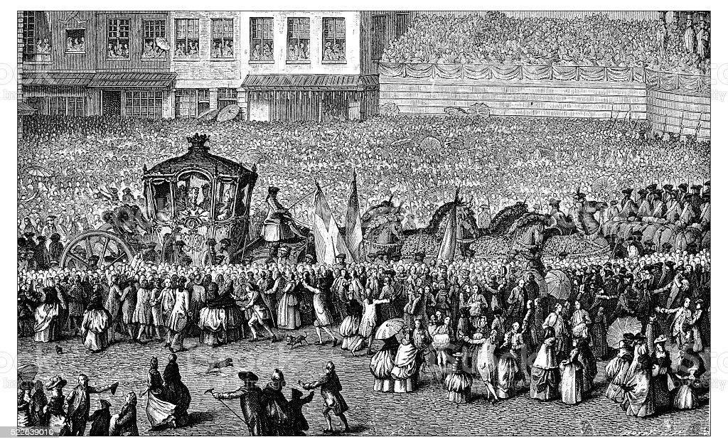 Antique illustration of passage of royal carriage vector art illustration