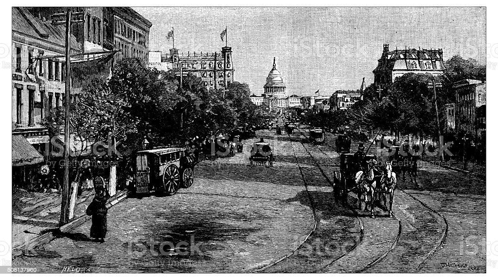 Antique illustration of Pennsylvania Avenue, Washington vector art illustration