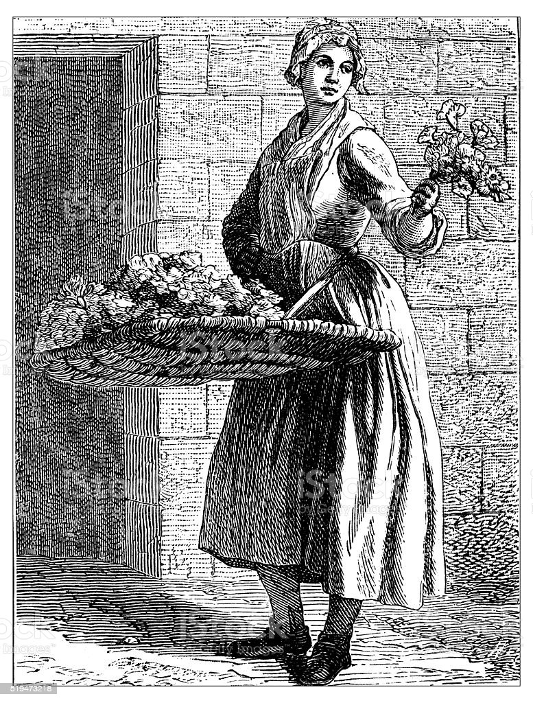 Antique illustration of people and jobs from Paris: flowers vendor vector art illustration