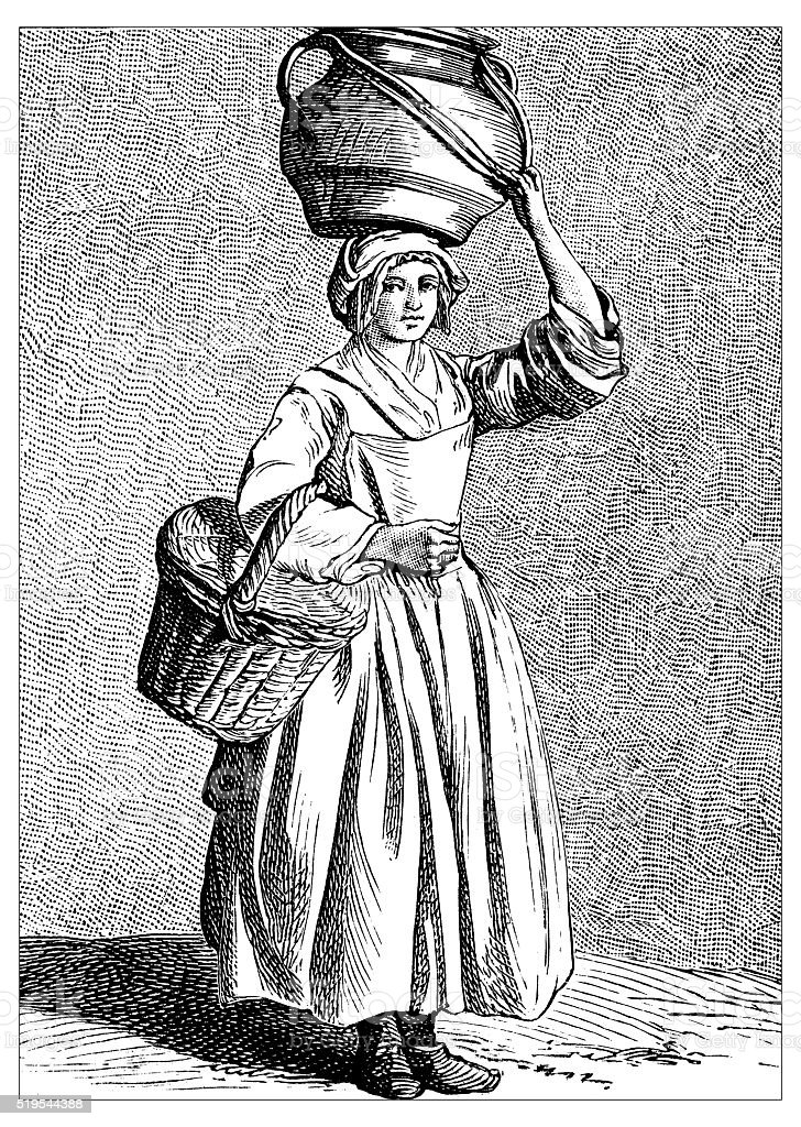 Antique illustration of people and jobs from Paris: Milk vendor vector art illustration