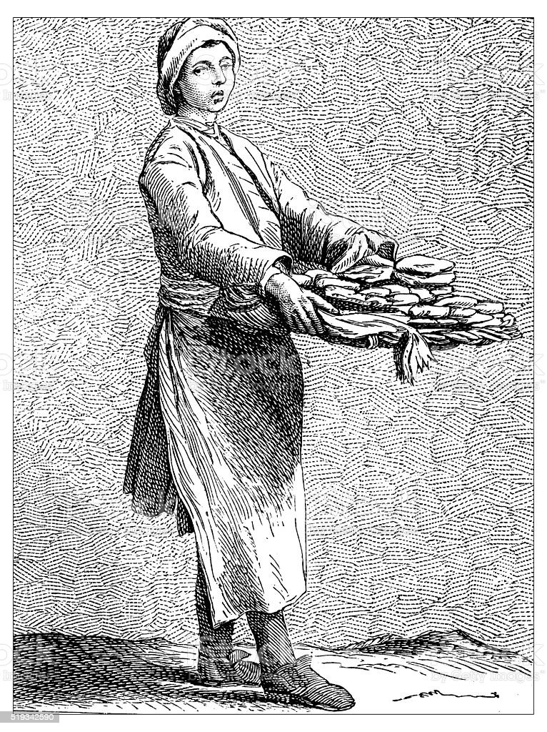Antique illustration of people and jobs from Paris: Pastry chef vector art illustration