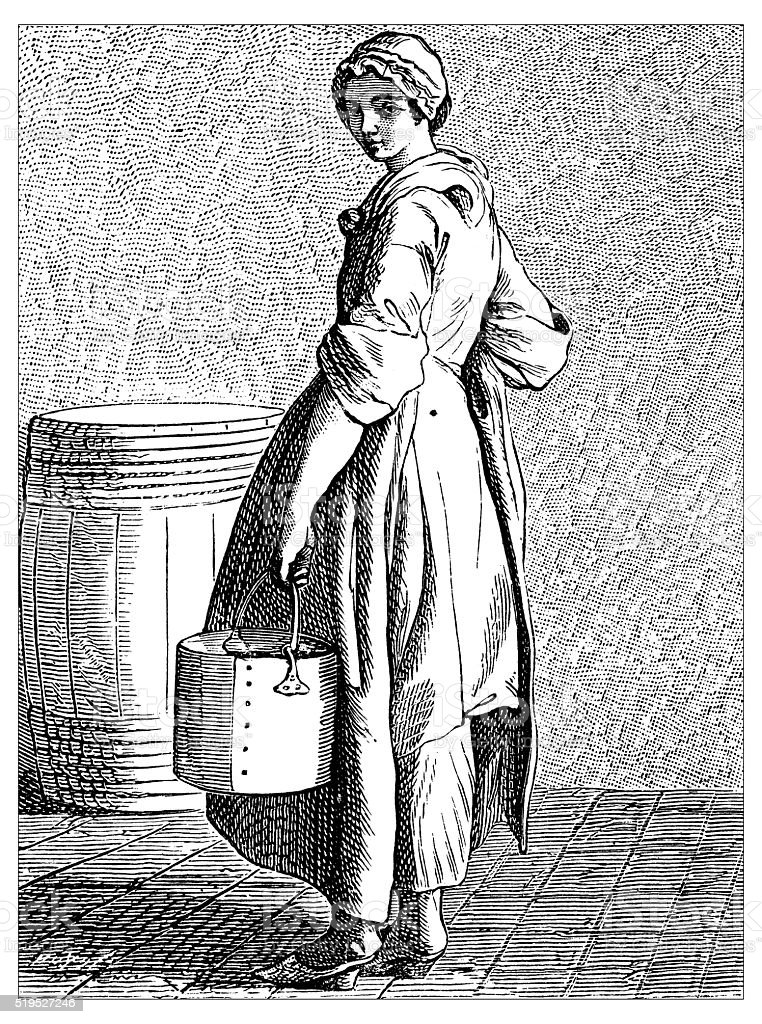 Antique illustration of people and jobs from Paris: Walnuts vendor vector art illustration