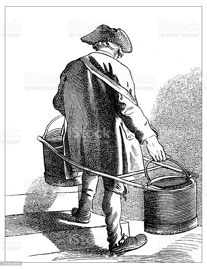Antique illustration of people and jobs from Paris: Water carrier vector art illustration