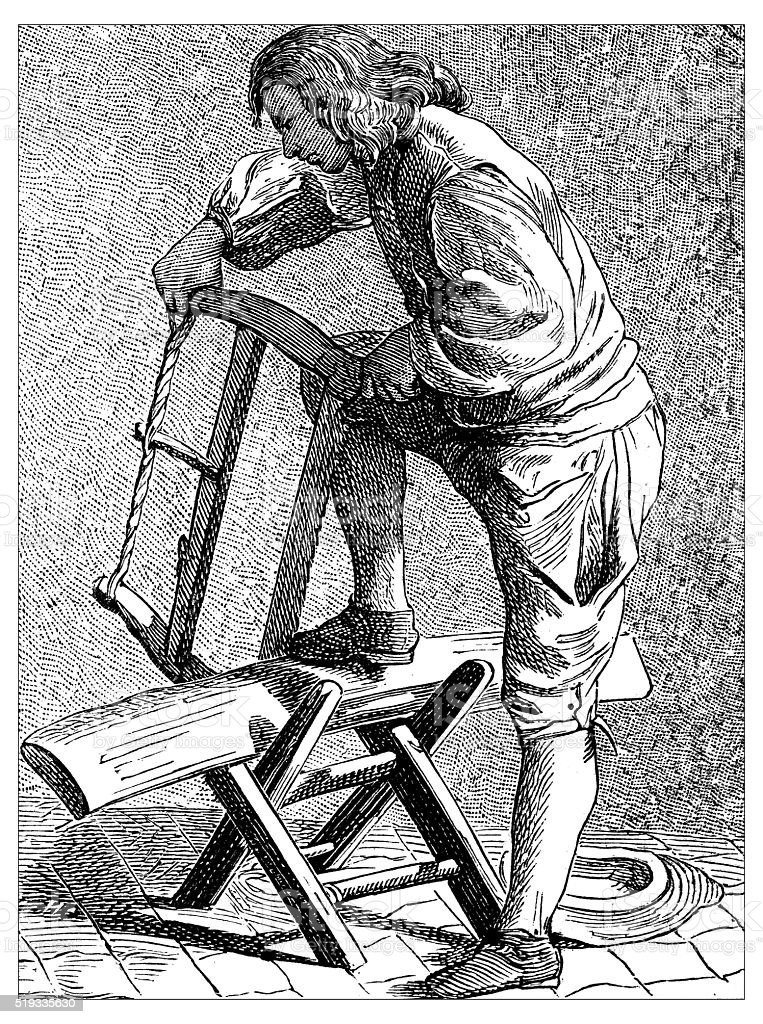 Antique illustration of people and jobs from Paris: wood worker vector art illustration