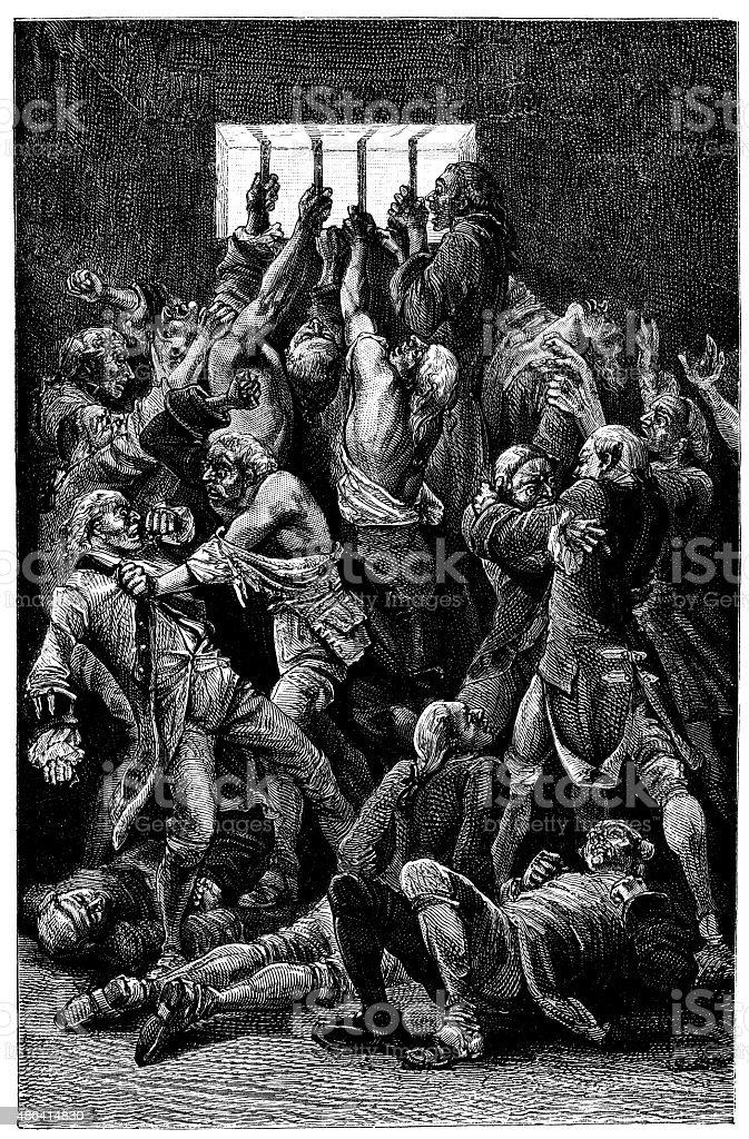 Antique illustration of people dying in prison vector art illustration