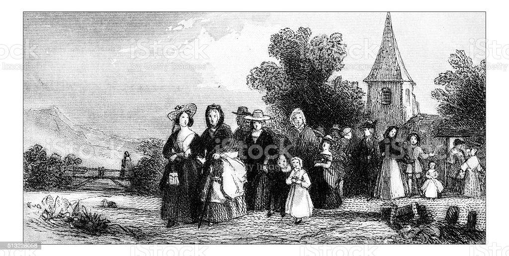 Antique illustration of people in rural scene outside church vector art illustration