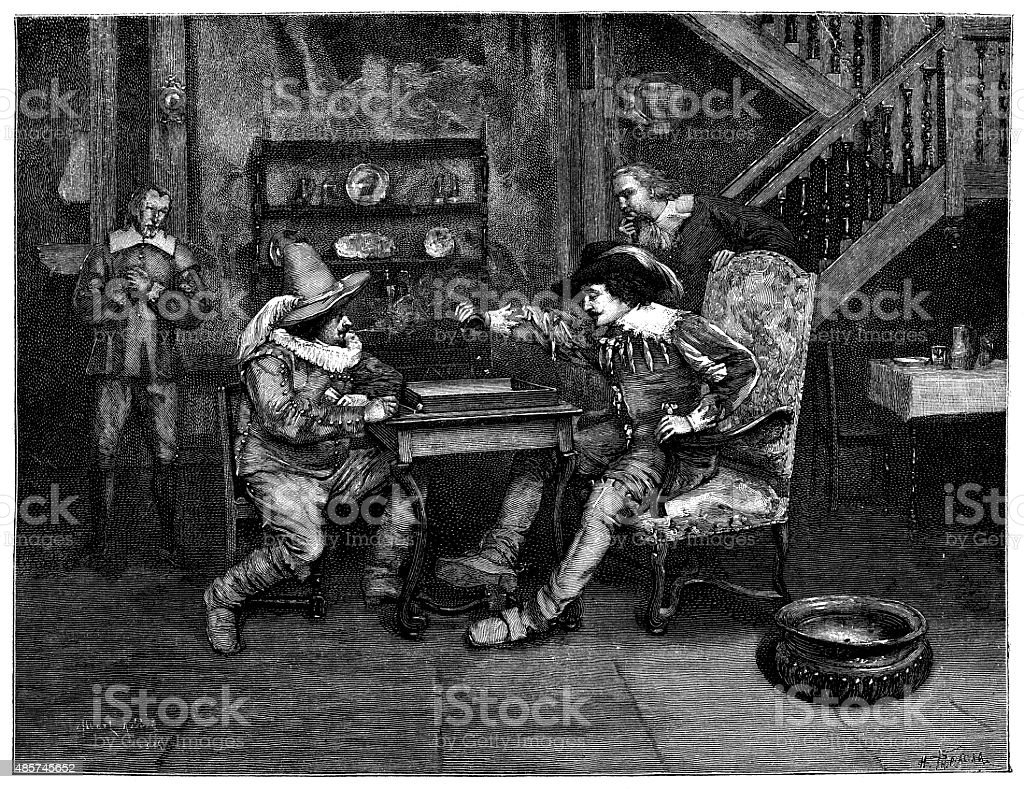 Antique illustration of people playing with dice vector art illustration