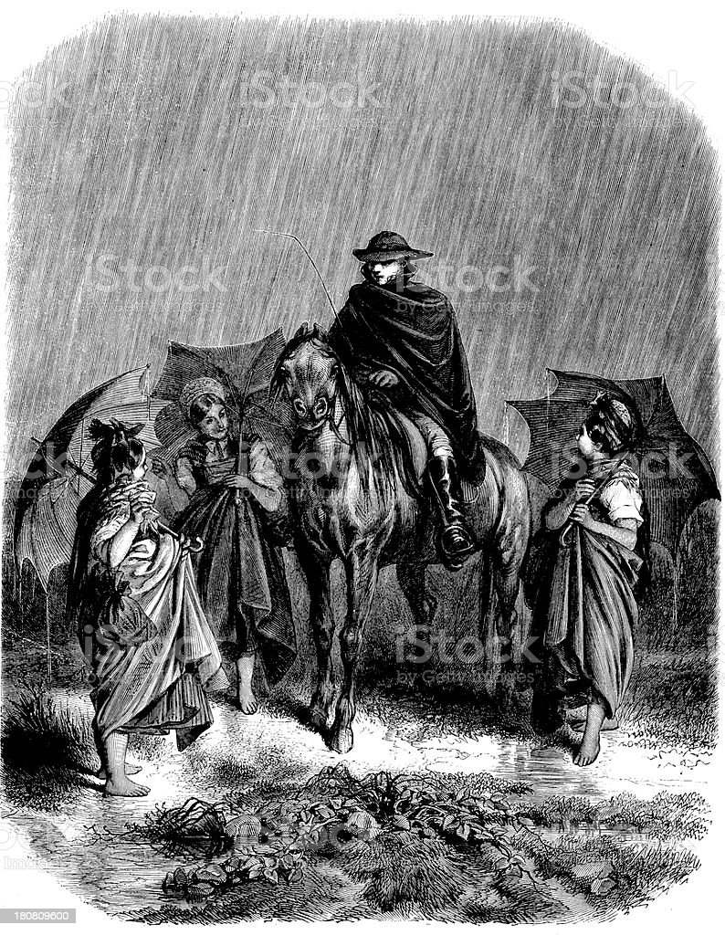 Antique illustration of people with horse under rain royalty-free stock vector art