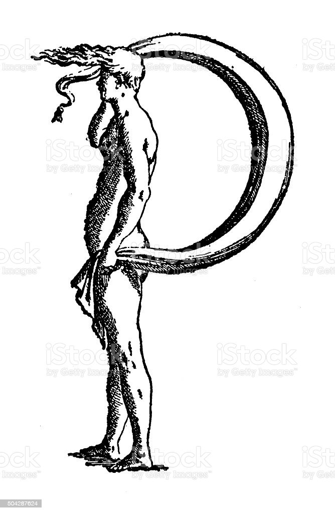 Antique illustration of personified capital letter P with human body vector art illustration
