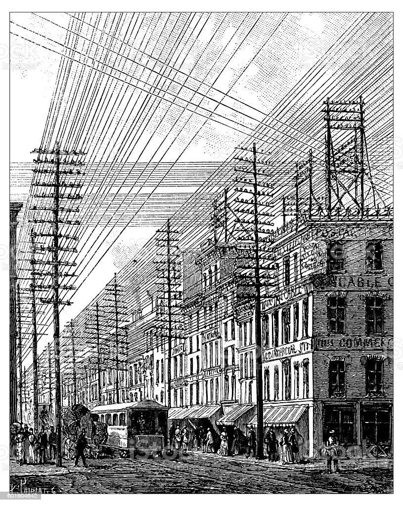 Antique illustration of Philadelphia power lines vector art illustration