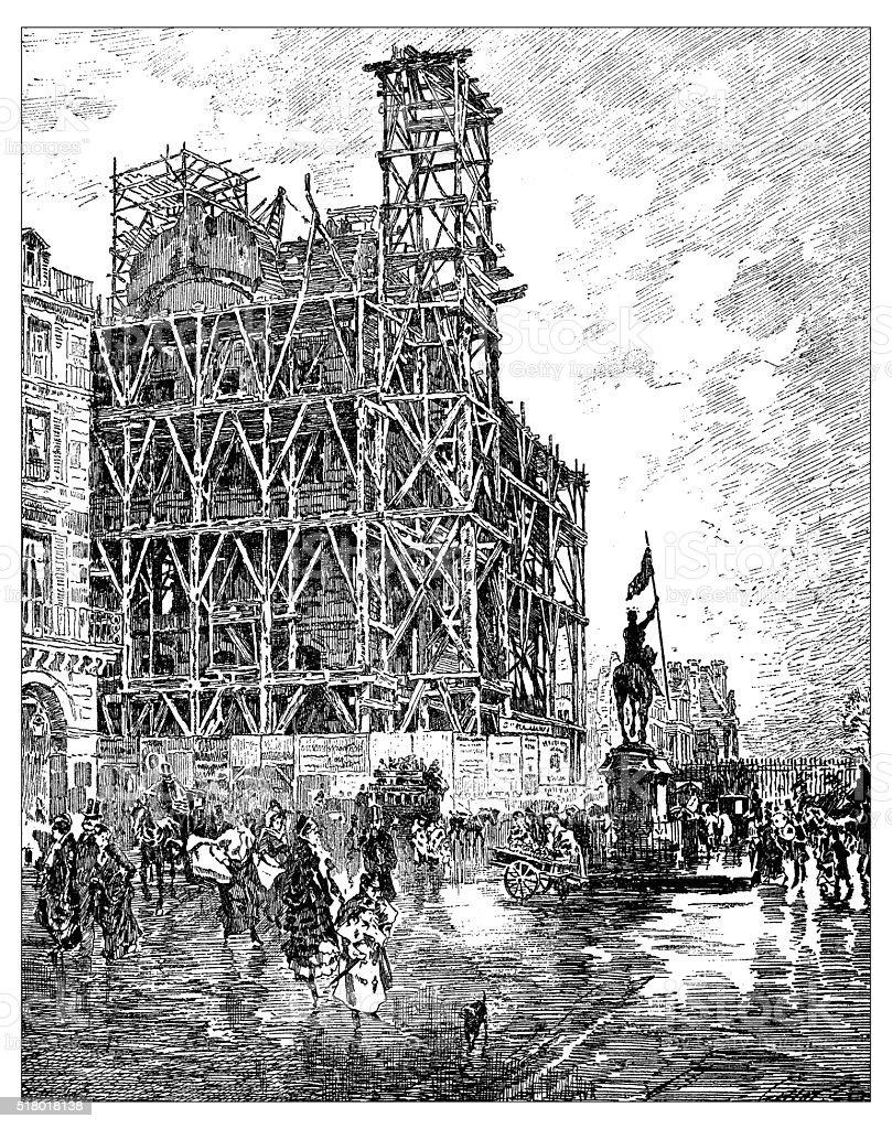Antique illustration of Place des Pyramides (Paris) during 19th century vector art illustration