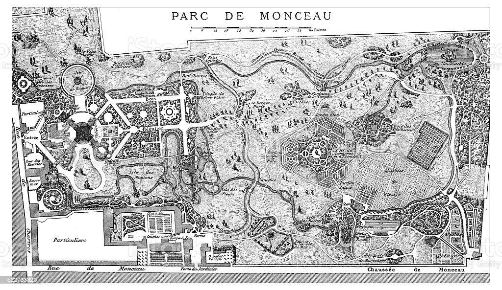 Antique illustration of plan of 18th century Parisian Parc Monceau vector art illustration