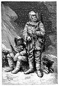 Antique illustration of polar expedition