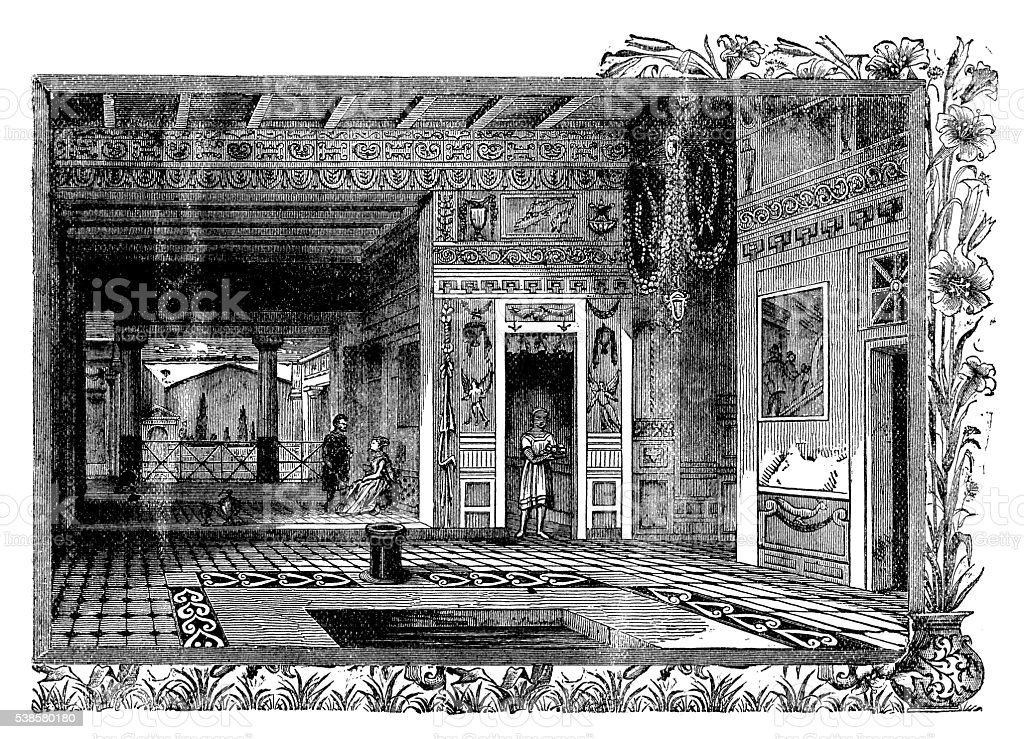 Antique illustration of Pompeii house vector art illustration