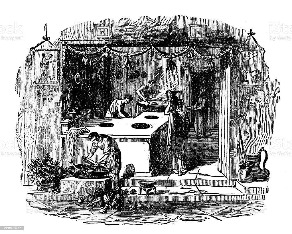 Antique illustration of Pompeii shop vector art illustration