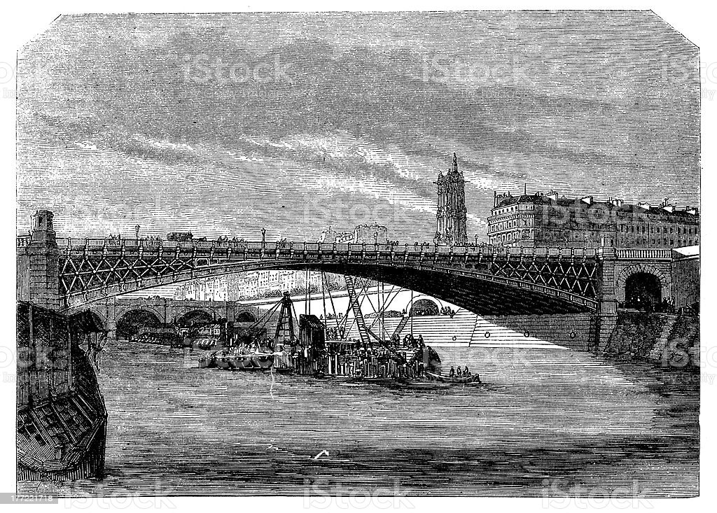 Antique illustration of Pont d'Arcole in Paris royalty-free stock vector art