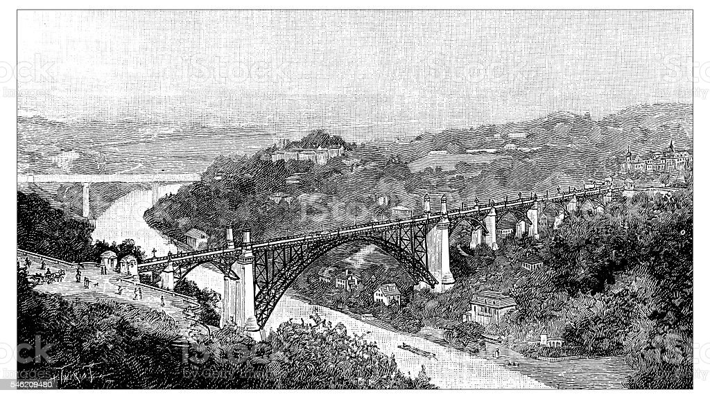 Antique illustration of Pont du Kornhaus, Bern vector art illustration