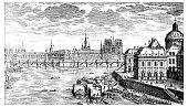 Antique illustration of Pont Neuf, Paris