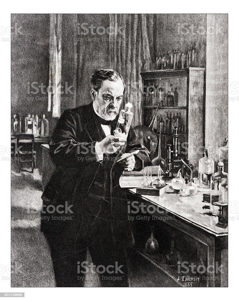 Antique illustration of 'Portrait de Pasteur' by Edelfelt vector art illustration