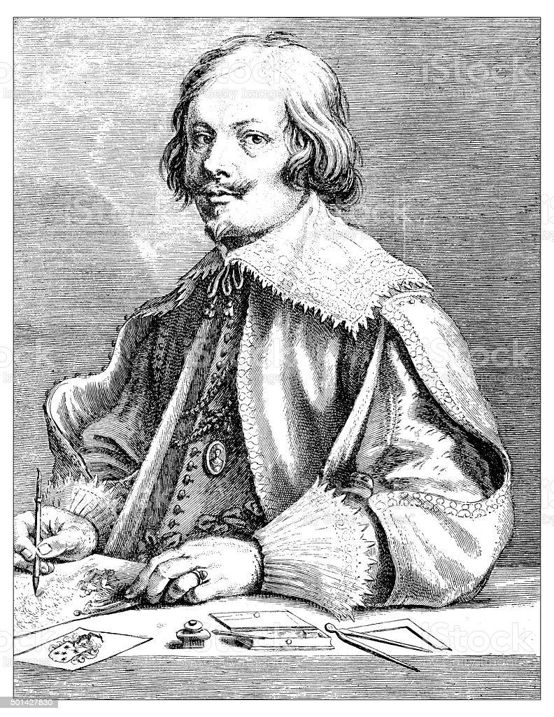 Antique illustration of portrait of Jacobus Callot by Van Dyck vector art illustration