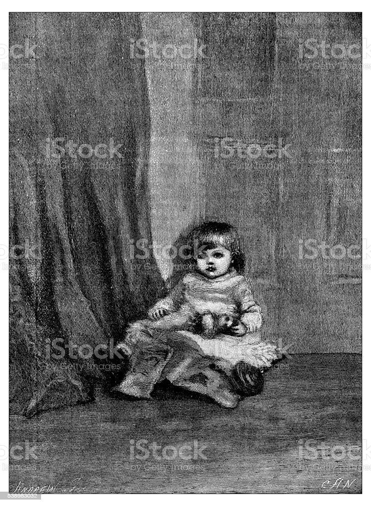Antique illustration of portrait of little girl vector art illustration
