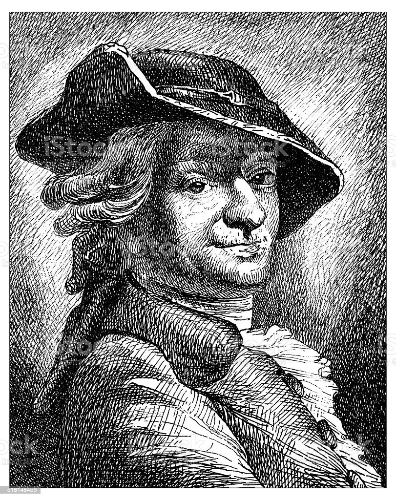 Antique illustration of portrait of Maurice Quentin de La Tour vector art illustration