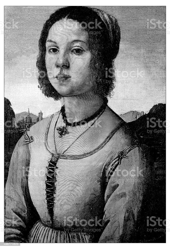 Antique illustration of portrait of  young Florentine girl (Reinassance) vector art illustration
