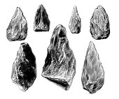 Antique illustration of prehistoric flint weapons