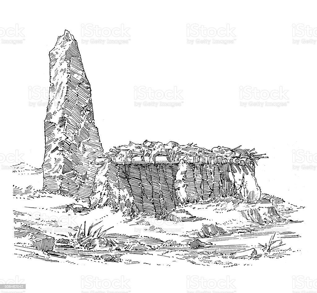 Antique illustration of prehistoric settlement with a menhir vector art illustration