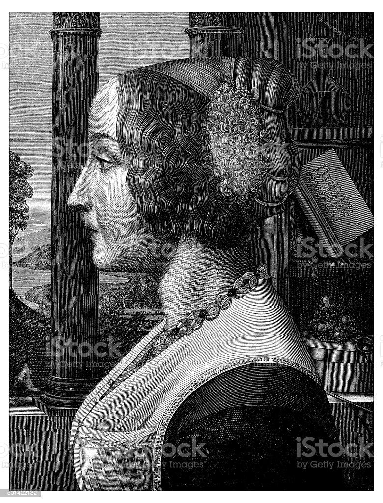 Antique illustration of profile portrait of italian 15th century lady vector art illustration