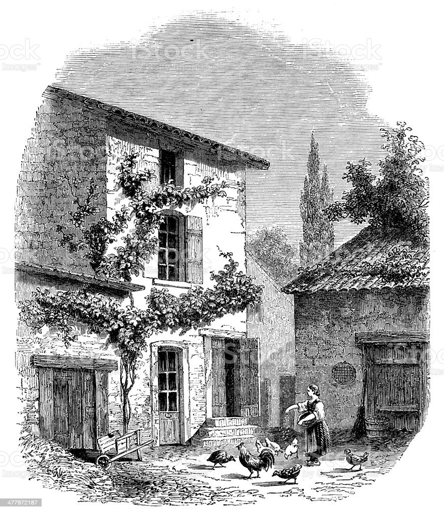 Antique illustration of Prud'hon house in Cluny royalty-free stock vector art