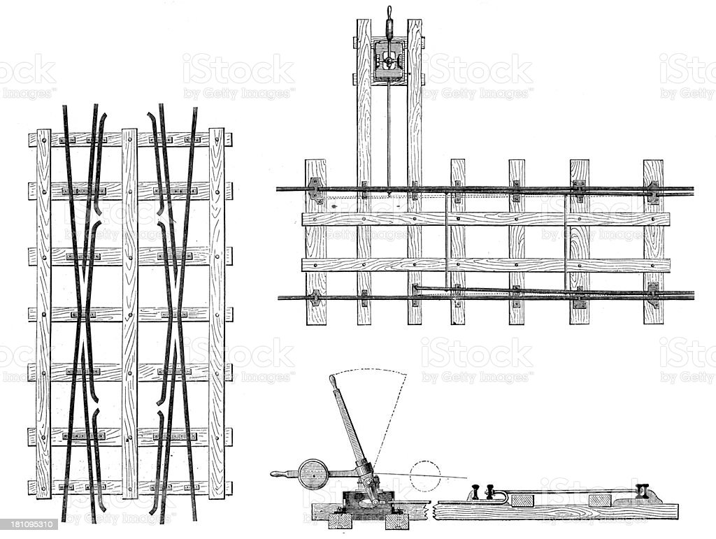 Antique illustration of rail systems royalty-free stock vector art