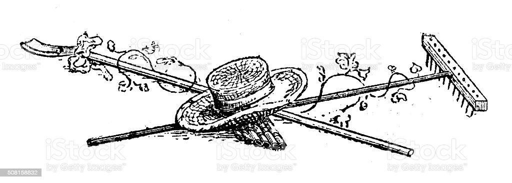 Antique illustration of rake, spade, straw hat and shoot vector art illustration