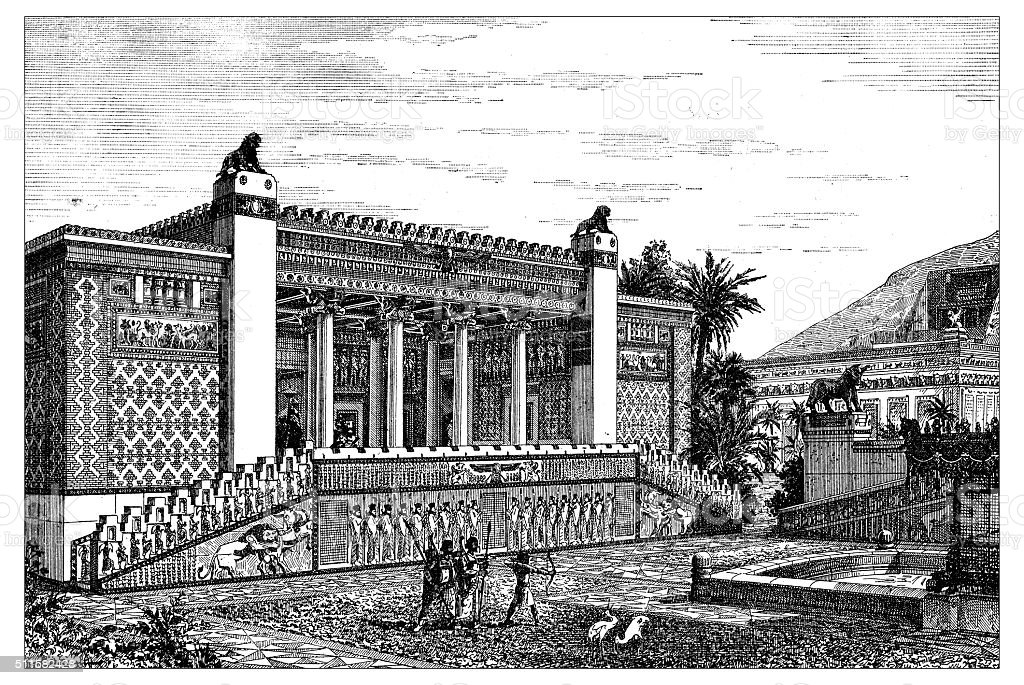 Antique illustration of reconstruction of Darius palace (Persepolis, Iran) vector art illustration