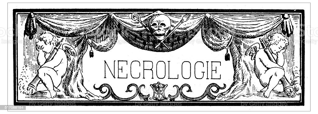 Antique illustration of rectangular frame with the French word 'necrologie' vector art illustration