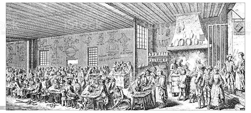 Antique illustration of restaurant vector art illustration