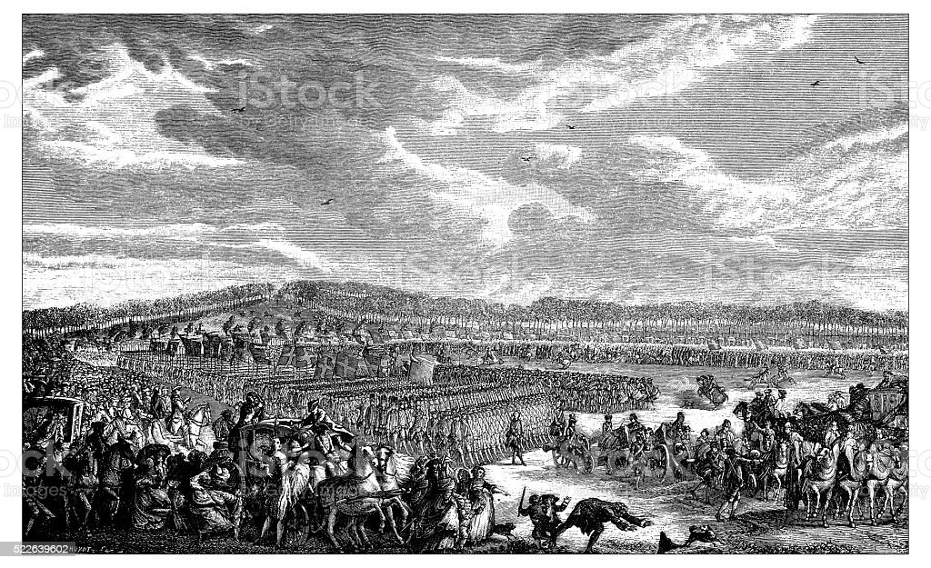 Antique illustration of review of the guards by French King vector art illustration