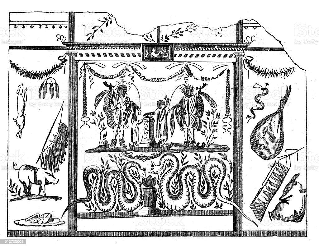 Antique illustration of Roman fresco from a Pompeii kitchen vector art illustration