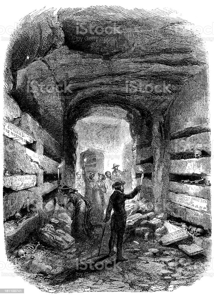 Antique illustration of Rome catacombs vector art illustration