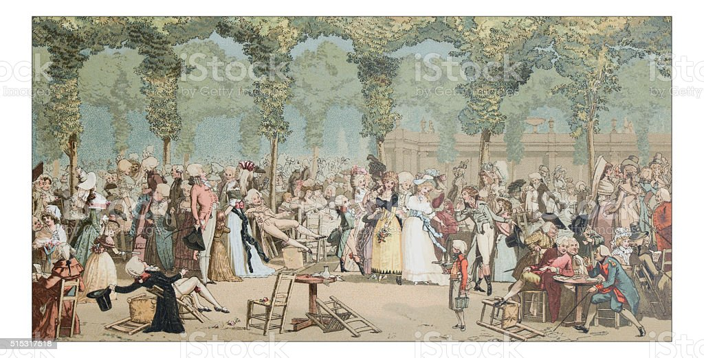 Antique illustration of Royal Palace garden party vector art illustration