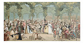 Antique illustration of Royal Palace garden party