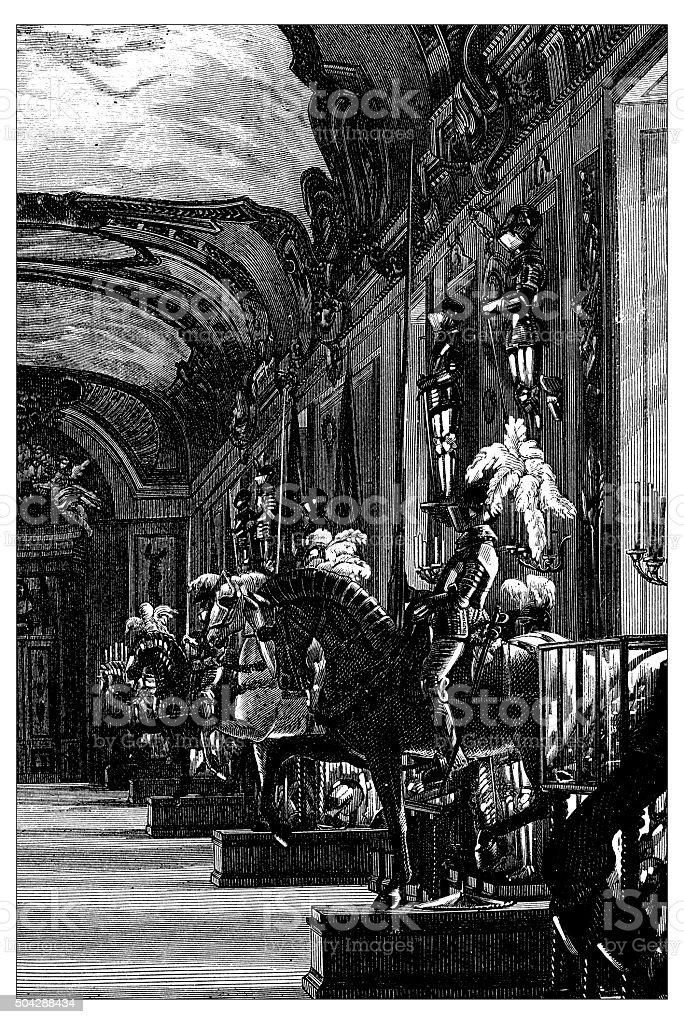 Antique illustration of Royla Armory of Turin vector art illustration