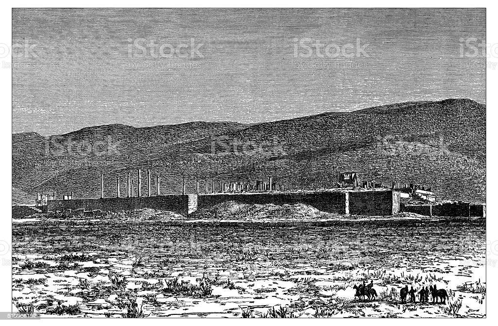 Antique illustration of ruins of Persepolis (Iran) vector art illustration