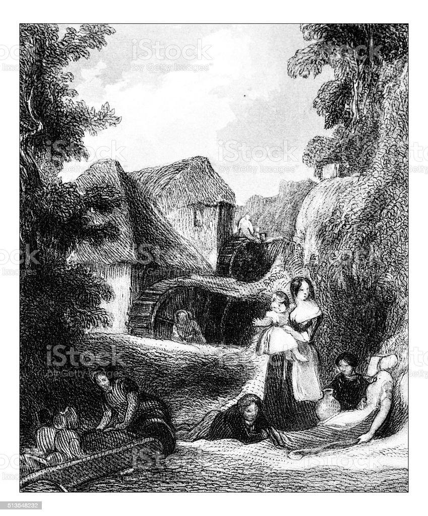 Antique illustration of rural landscape scene vector art illustration