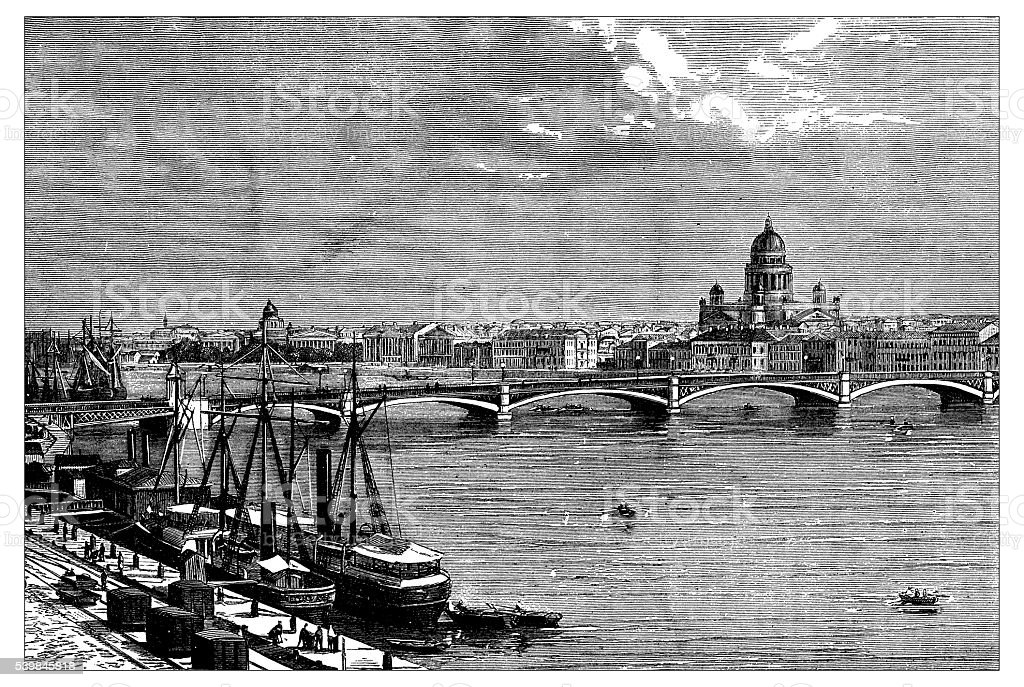 Antique illustration of Saint Petersburg vector art illustration