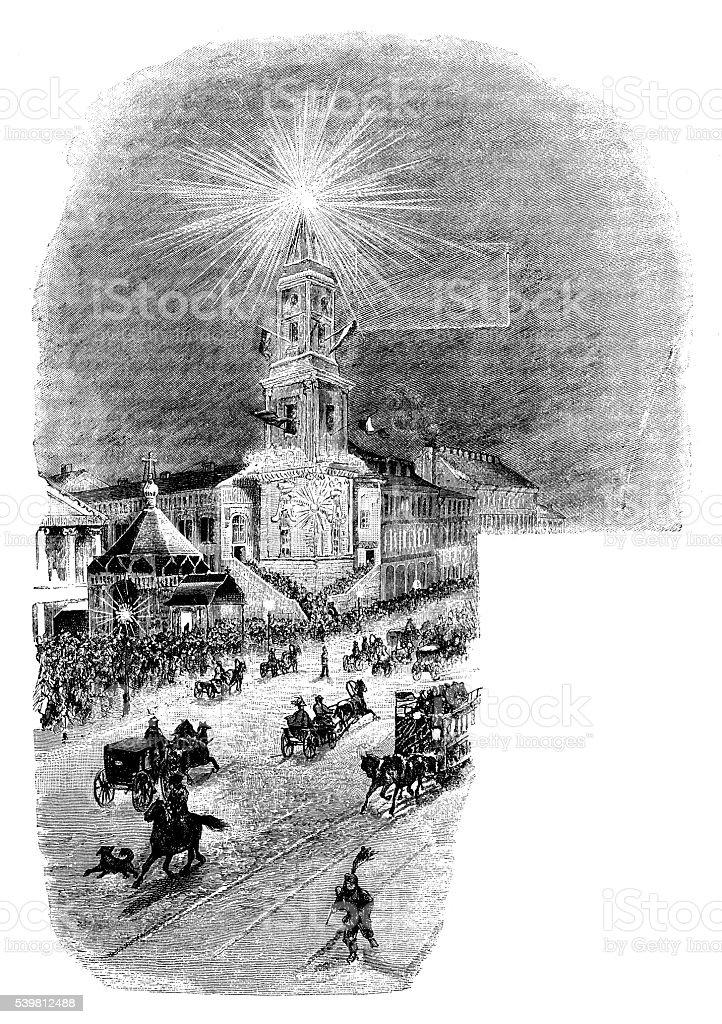 Antique illustration of Saint Petersburg town hall vector art illustration